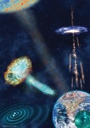 física de astropartículas, astropartículas, neutrinos, ondas gravitacionales, materia oscura, agujeros negros, rayos cósmicos,